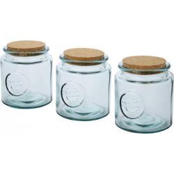 Juego de tres tarros de vidrio reciclado de 800ml Aire