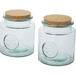 Juego de dos recipientes de vidrio reciclado de 1500ml Aire