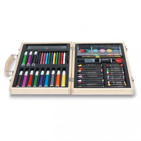 Caja de colores y pinturas de madera Genio