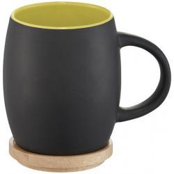 Taza de cerámica con base o tapa de madera Hearth