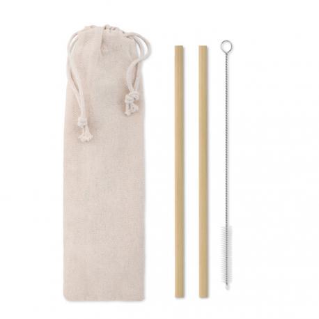 Pajita bambú cepillo funda Natural straw