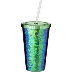 Vaso de material acrílico con lentejuelas de 470 ml Festus