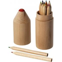 Caja madera forma lápiz con 12 lápices
