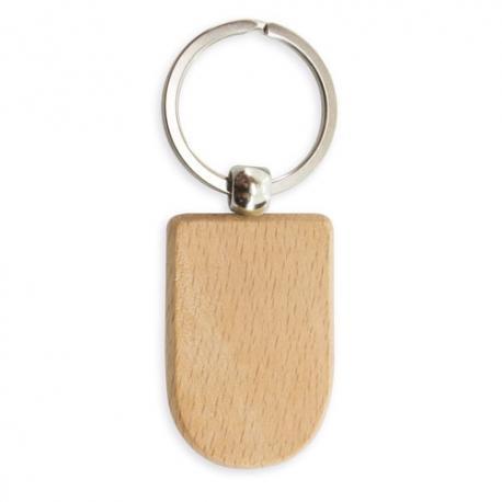 Llavero con diseño original de madera shield