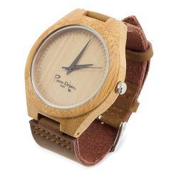 Reloj bambu con piel natural