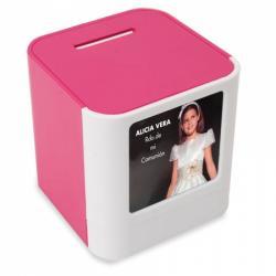 Hucha portafotos rosa