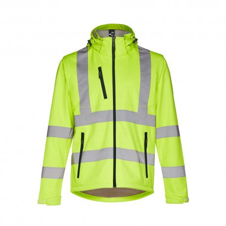 Chaqueta de alta visibilidad para hombre con capucha removible. Amarillo hexachrome Zagreb work