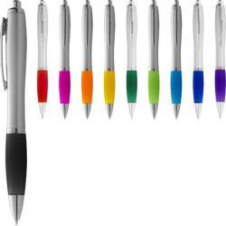 Bolígrafo nash de color plata con grip de color y tinta azul