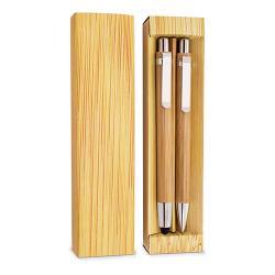 Set boligrafo y portaminas bambu elastico