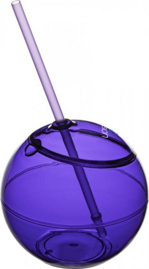 Vaso forma de bola con pajita 580ml Fiesta