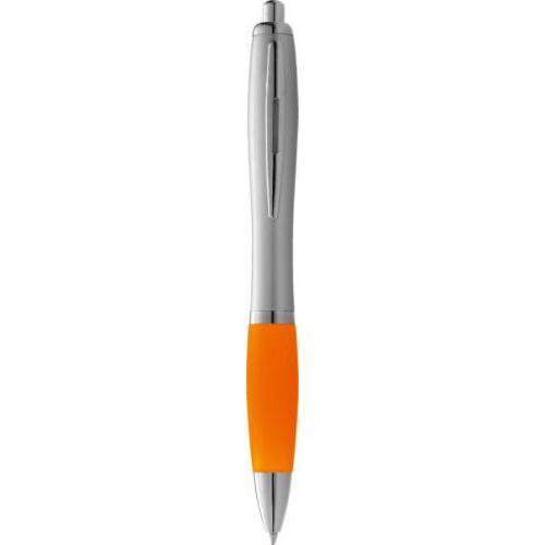 Bolígrafo nash de color plata con grip de color y tinta negra