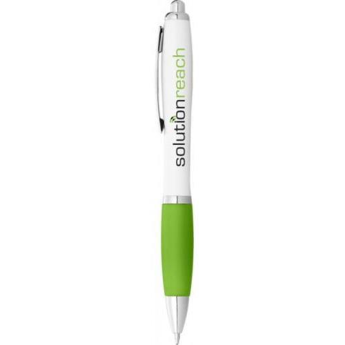 Bolígrafo nash blanco con grip de color y tinta negra