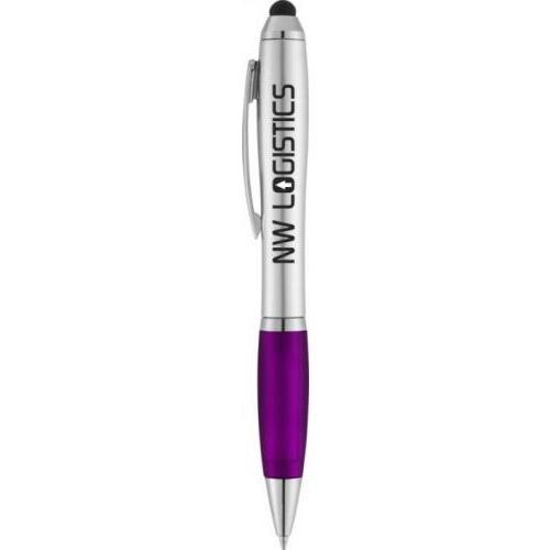 Bolígrafo-puntero nash de color plata con grip de color y tinta negra