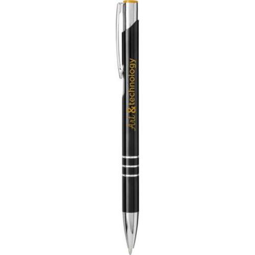 Bolígrafo de aluminio de color con mecanismo de clic para grabar a láser Moneta