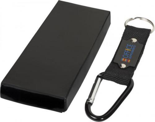 Llavero mosquetón con placa de grabación