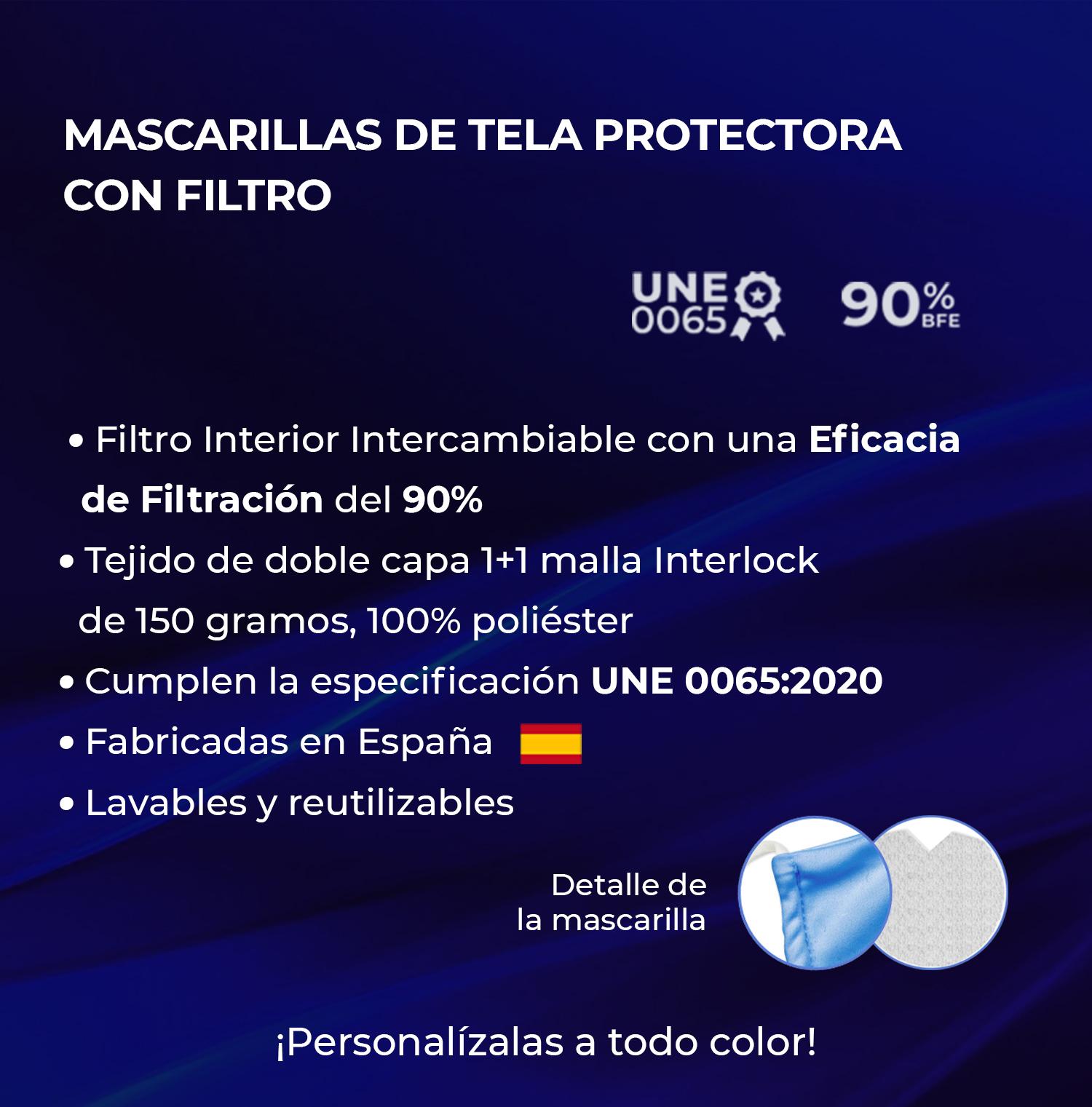 Mascarilla de tela protectora reutilizable para niño CON FILTRO