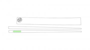 Impresión B-En la parte superior de uno de los palillos