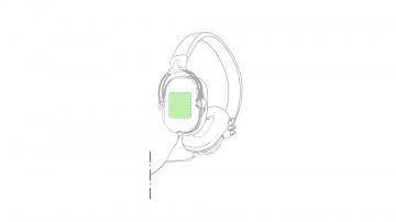 Impresión F-Sobre el auricular derecho